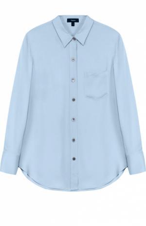 Шелковая блуза прямого кроя с накладным карманом Theory. Цвет: голубой