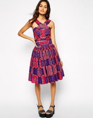 X Asos Full Skirt in Tile Print - Плиточный принт Sika. Цвет: плиточный принт