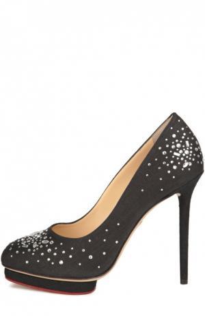 Туфли Bejewelled Dotty из фактурной ткани Charlotte Olympia. Цвет: черный