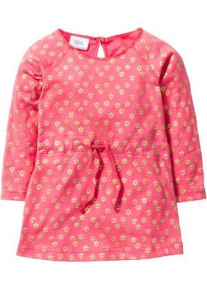 Трикотажное платье (нежный ярко-розовый/золотистый с рисунком) bonprix. Цвет: нежный ярко-розовый/золотистый с рисунком