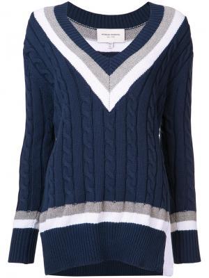 Вязаный свитер с косами Public School. Цвет: синий