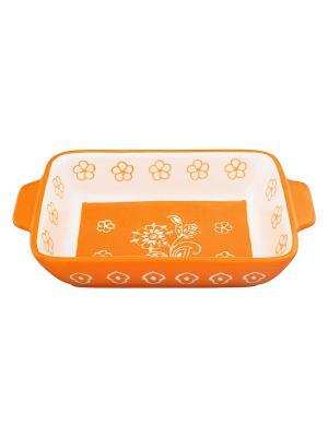 Блюдо для запекания Цветочное оранжевое поле Elan Gallery. Цвет: оранжевый