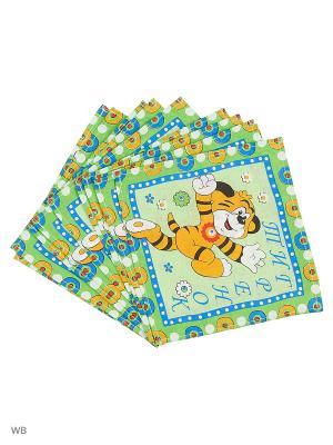 Набор платков носовых детских Римейн. Цвет: зеленый