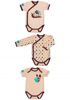 Комплект : боди 3 шт Lucky child. Цвет: коричневый (кофейный)