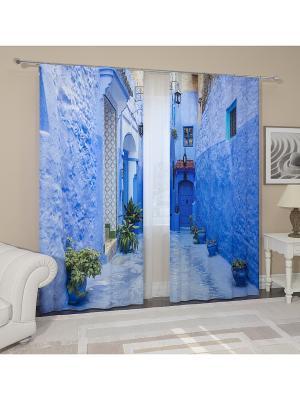 Фотошторы Улица в Марокко Сирень. Цвет: желтый, белый, черный, синий, зеленый, голубой, фиолетовый, красный, оранжевый, розовый