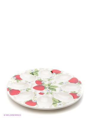 Тарелка для фаршированных яиц Клубнички Elan Gallery. Цвет: белый, зеленый, красный