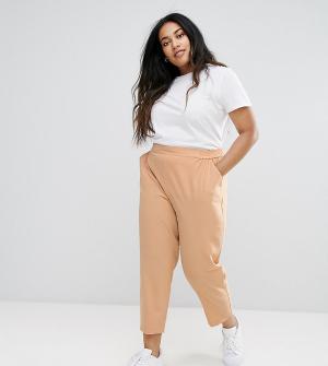 ASOS Curve Тканые брюки галифе без застежки. Цвет: бежевый