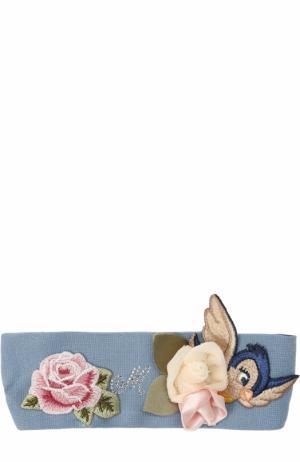 Повязка на голову с аппликациями Monnalisa. Цвет: голубой