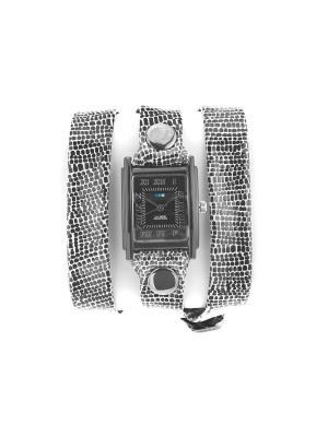 Часы La Mer Collections Simple BLACK/WHITE AFRICAN PRINT W/Black. Цвет: черный, белый