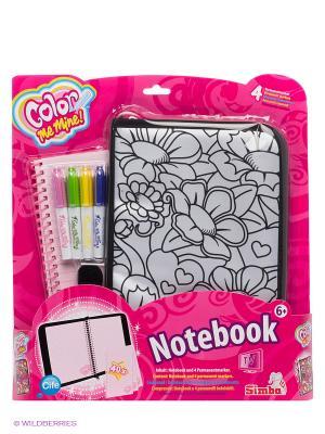 Сумочка-обложка и блокнот (40 листов), 4 перманентных маркера Color me mine. Цвет: розовый, белый, черный