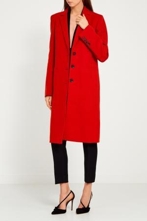 Красное однобортное пальто Gucci. Цвет: none