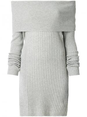 Ребристое трикотажное платье с воротником-шалькой Twin-Set. Цвет: серый