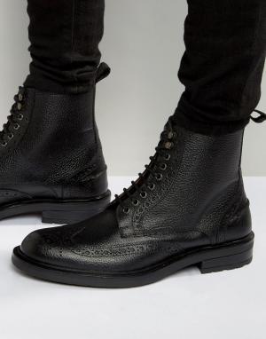 Dead Vintage Черные кожаные ботинки-броги. Цвет: черный
