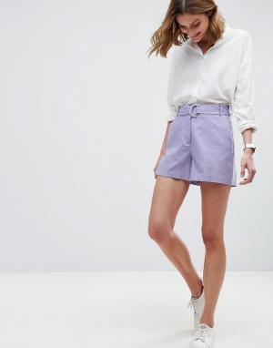 ASOS Льняные шорты с D-образным кольцом Tailored. Цвет: фиолетовый