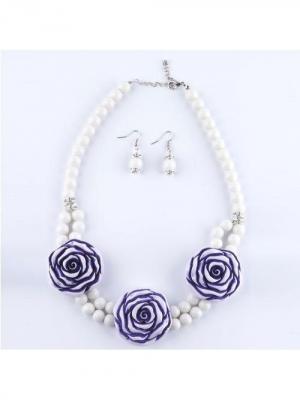 Комплект бижутерии Роза Castlelady. Цвет: белый, фиолетовый