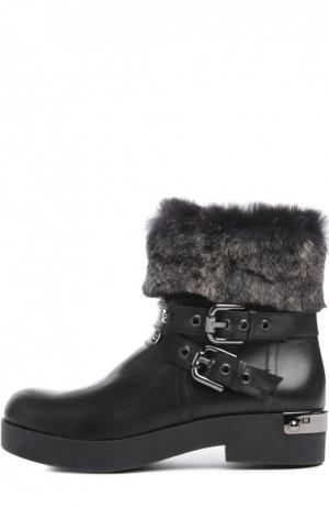 Кожаные ботинки с меховой отделкой Baldan. Цвет: черный