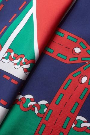 Шелковый платок Gucci. Цвет: красный, зеленый, синий