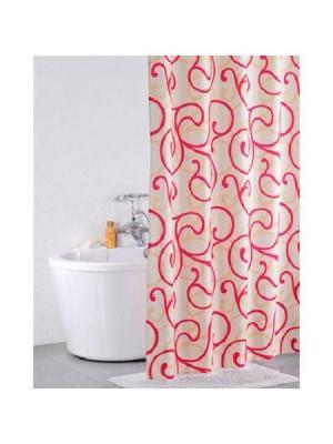 Штора для ванной IDDIS. Цвет: красный, розовый