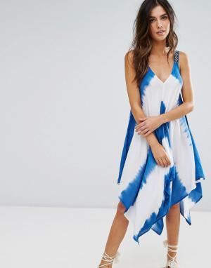 Anmol Пляжное платье с принтом тай-дай. Цвет: синий