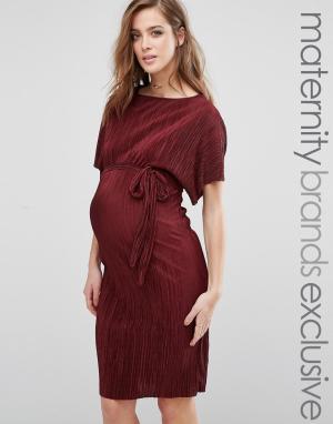 Queen Bee Плиссированное цельнокройное платье. Цвет: красный