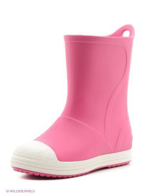 Резиновые сапоги CROCS. Цвет: розовый, белый
