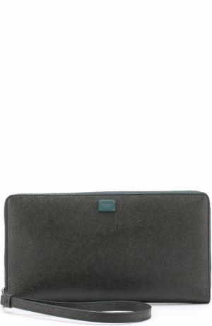 Кожаный футляр для документов на молнии Dolce & Gabbana. Цвет: темно-зеленый