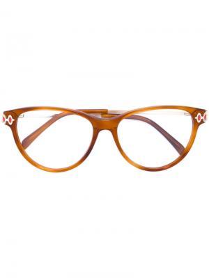 Очки с массивной оправой Emilio Pucci. Цвет: жёлтый и оранжевый