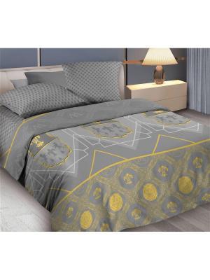 Комплект постельного белья 1,5 бязь King Arthyr Wenge. Цвет: серый, желтый