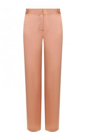 Шелковые брюки прямого кроя с контрастными лампасами Equipment. Цвет: розовый