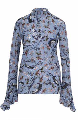 Шелковая блуза с воротником-стойкой и принтом Erdem. Цвет: голубой