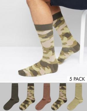 Urban Eccentric 5 пар носков с камуфляжным принтом. Цвет: мульти