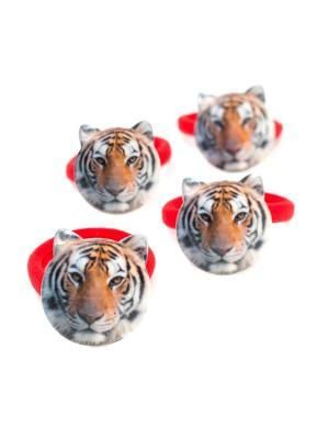 Резинка с тигром голубая 4 шт. детская JD.ZARZIS. Цвет: красный