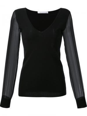 Блузка с V-образным вырезом и прозрачными рукавами Sally Lapointe. Цвет: чёрный