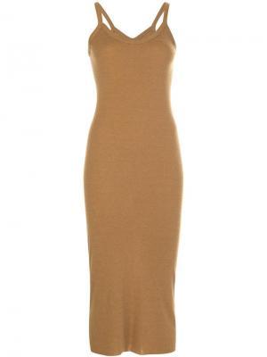 Платье-майка с глубоким вырезом Rick Owens Lilies. Цвет: коричневый