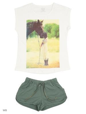 Комплект (футболка + шорты) LISA CROWN. Цвет: хаки, молочный