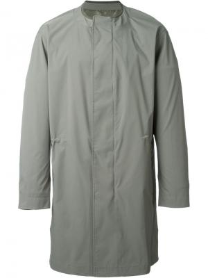 Свободное пальто на потайной застежке System Homme. Цвет: зелёный