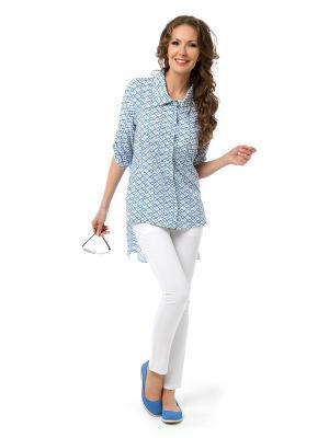 Блуза DizzyWay. Цвет: голубой,белый