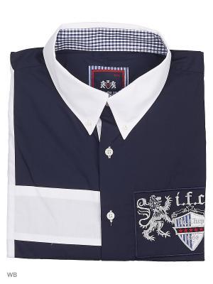 Рубашка IFC. Цвет: темно-синий, белый
