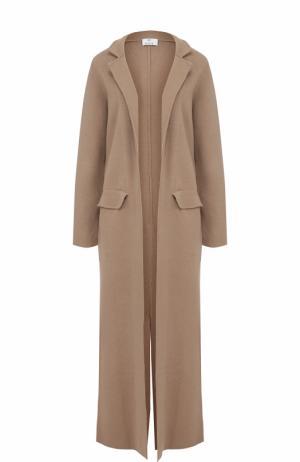Удлиненное однотонное пальто из смеси шерсти и кашемира Allude. Цвет: коричневый