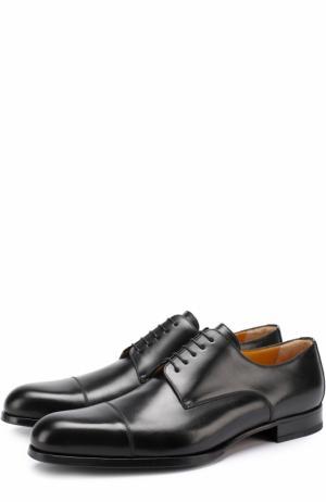 Классические кожаные дерби A. Testoni. Цвет: черный