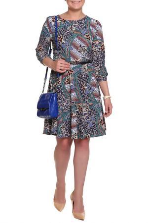Платье с ремнем Mees. Цвет: синий