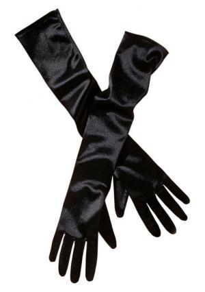 Сатиновые перчатки PETITE FLEUR. Цвет: черный
