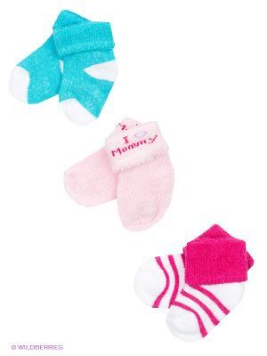 Носочки Love, 3 пары Luvable Friends. Цвет: розовый