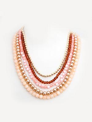 Колье Kameo-bis. Цвет: бежевый, розовый, золотистый