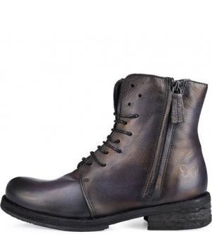 Кожаные ботинки на небольшом каблуке Felmini. Цвет: коричневый
