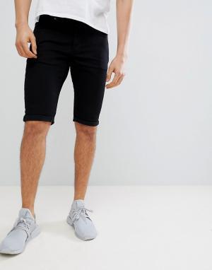 Mennace Черные джинсовые шорты скинни. Цвет: черный