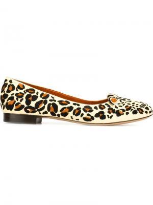 Балетки с леопардовым принтом Charlotte Olympia. Цвет: чёрный