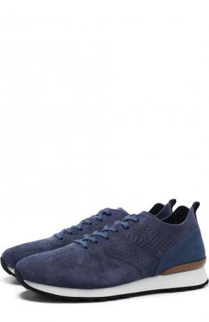 Замшевые кроссовки на шнуровке с перфорацией Hogan. Цвет: синий