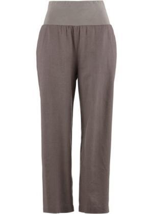 Льняные брюки-кюлоты (бурый) bonprix. Цвет: бурый