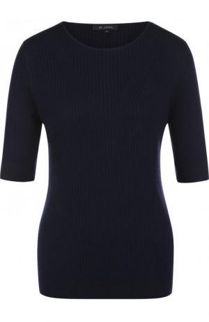 Пуловер фактурной вязки с укороченным рукавом St. John. Цвет: темно-синий
